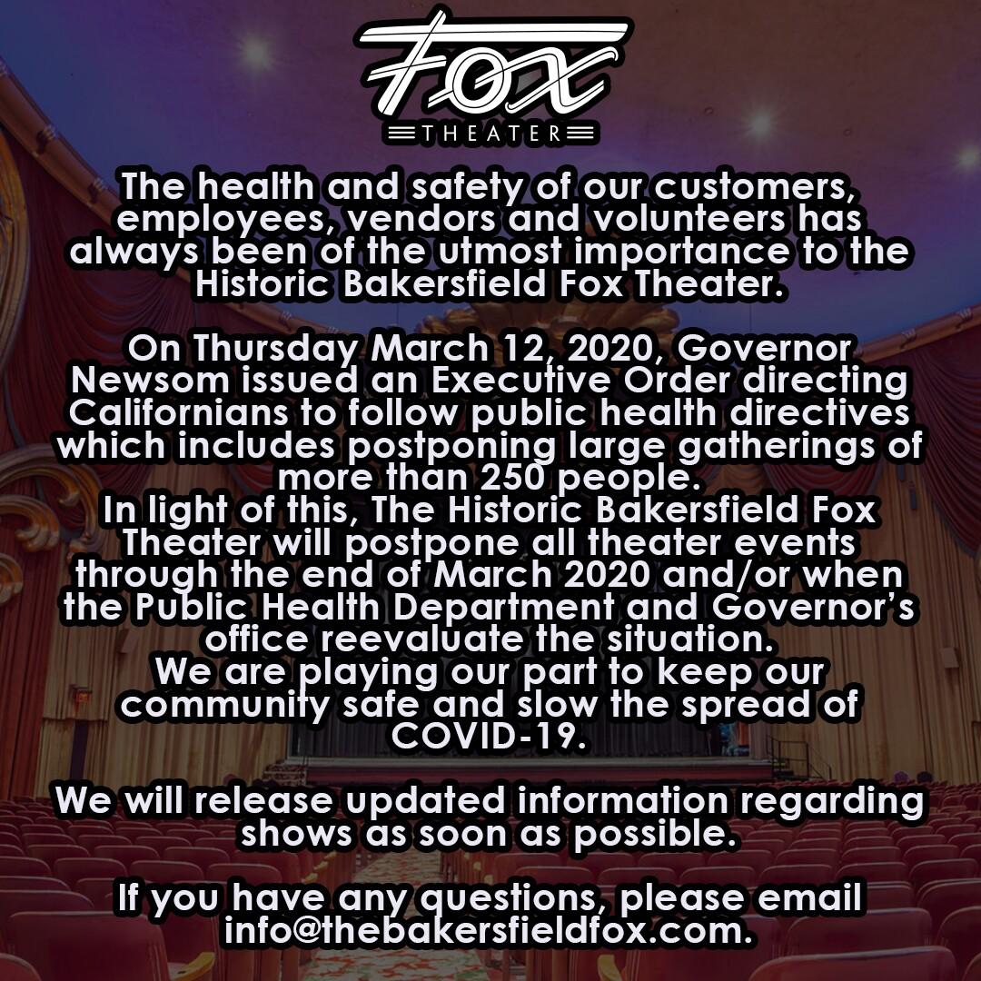 Fox Theater events postponed