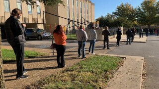 Voting lines at Boston Avenue United Methodist Church in downtown Tulsa