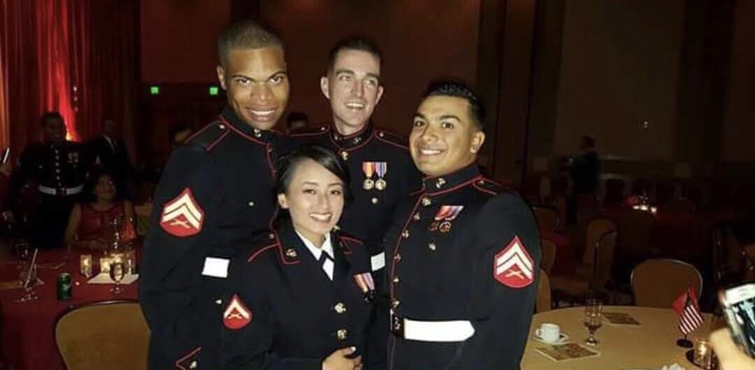 Corporal Jackson alongside fellow Marines