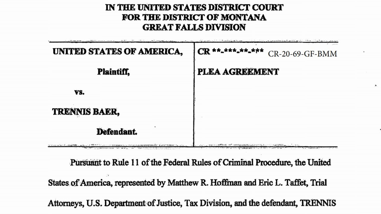 Trennis Baer of Great Falls was sentenced in federal court on Thursday for employment tax fraud