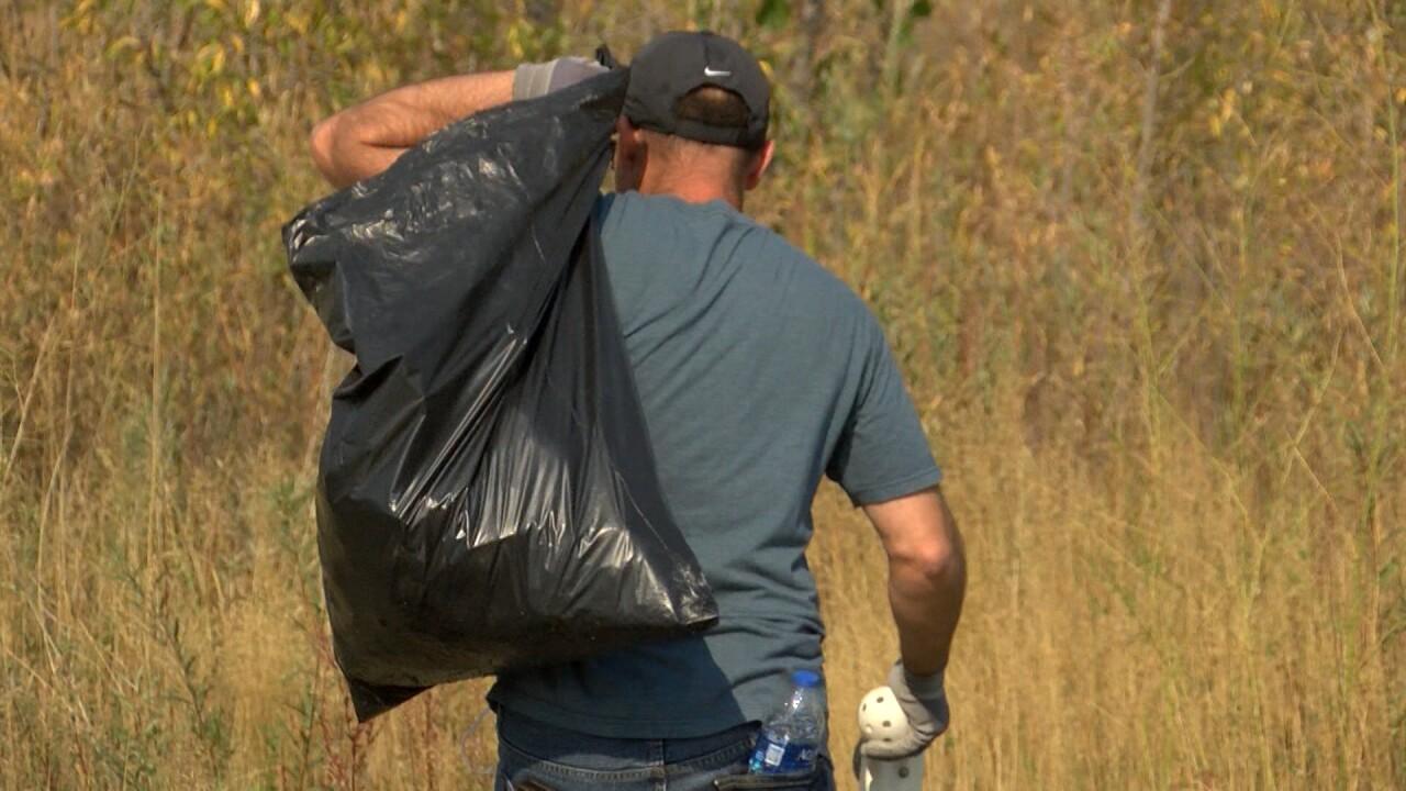 Picking up litter