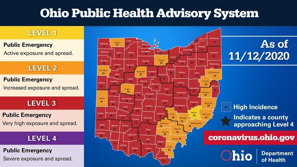 Ohio Public Health Advisory System map as of Nov. 12, 2020.