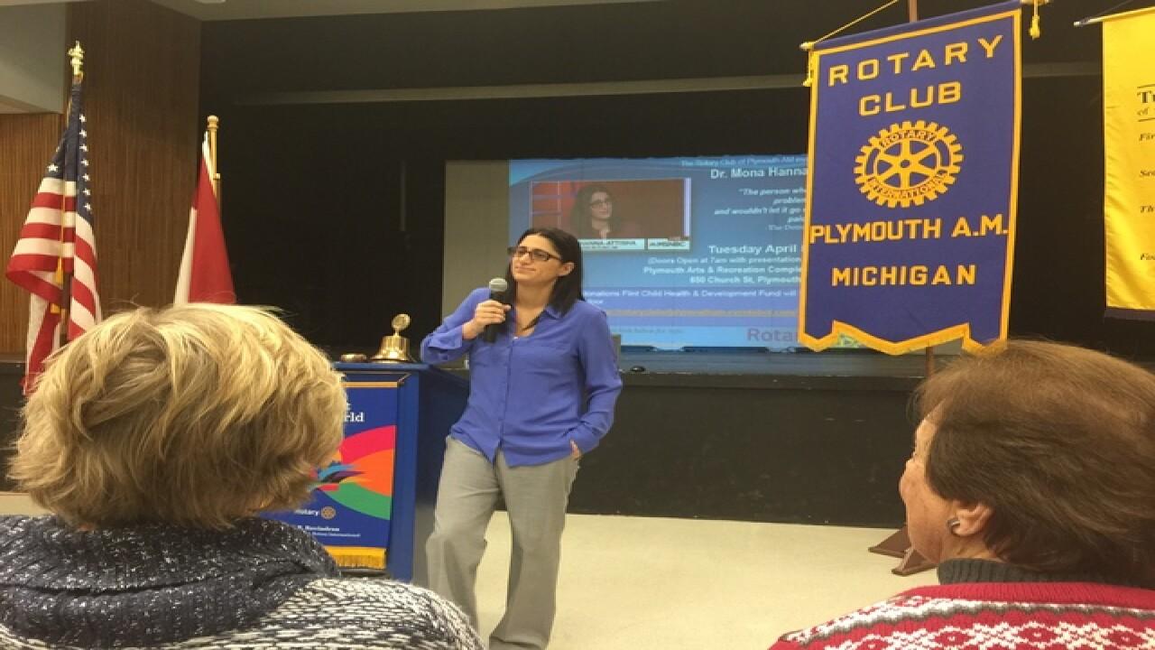 Dr. Mona Hanna-Attisha speaks in Plymouth