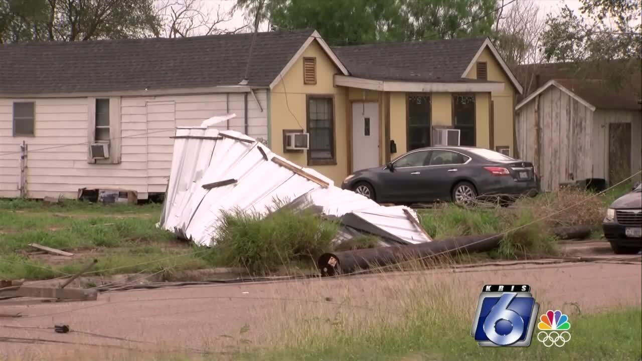 The National Weather Service surveys storm damage across the Coastal Bend