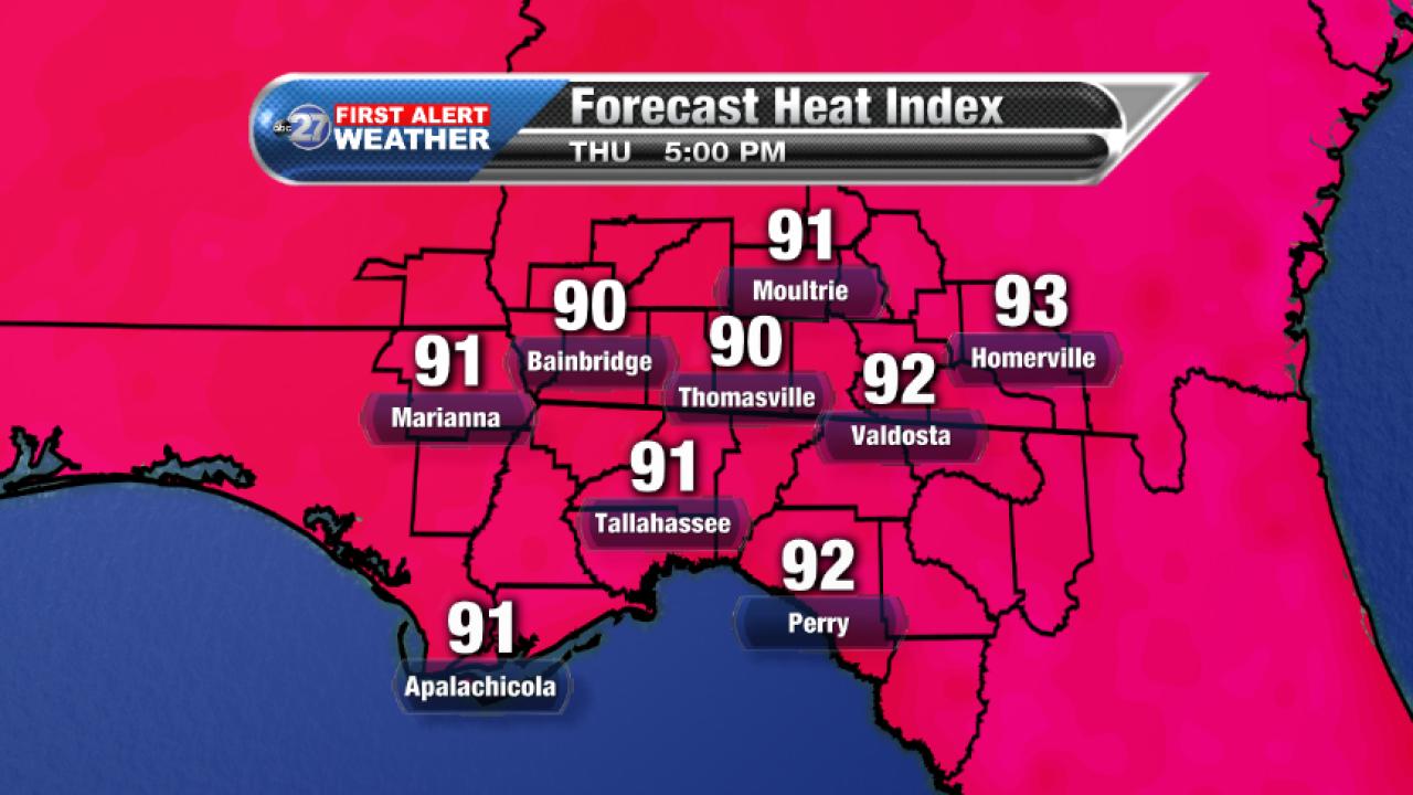 Forecast 5pm Heat Index (09/28/2017)