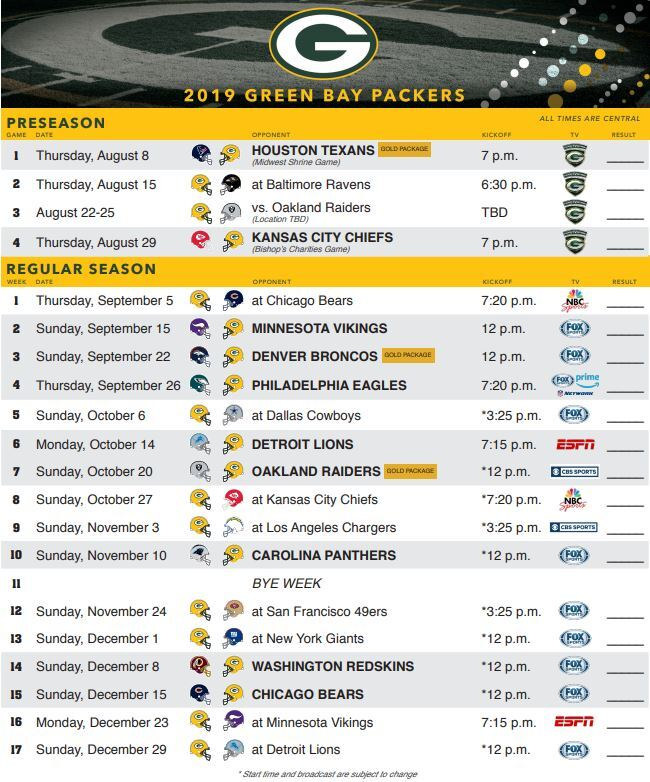 Packers 2019 Schedule V2