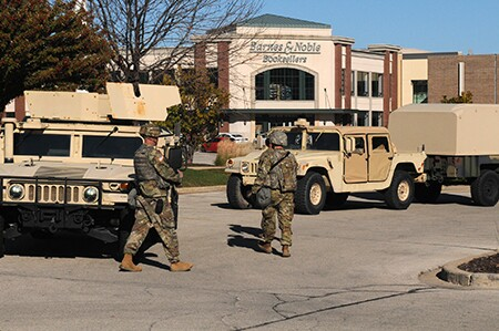 Members of the National Guard during protests in Wauwatosa.