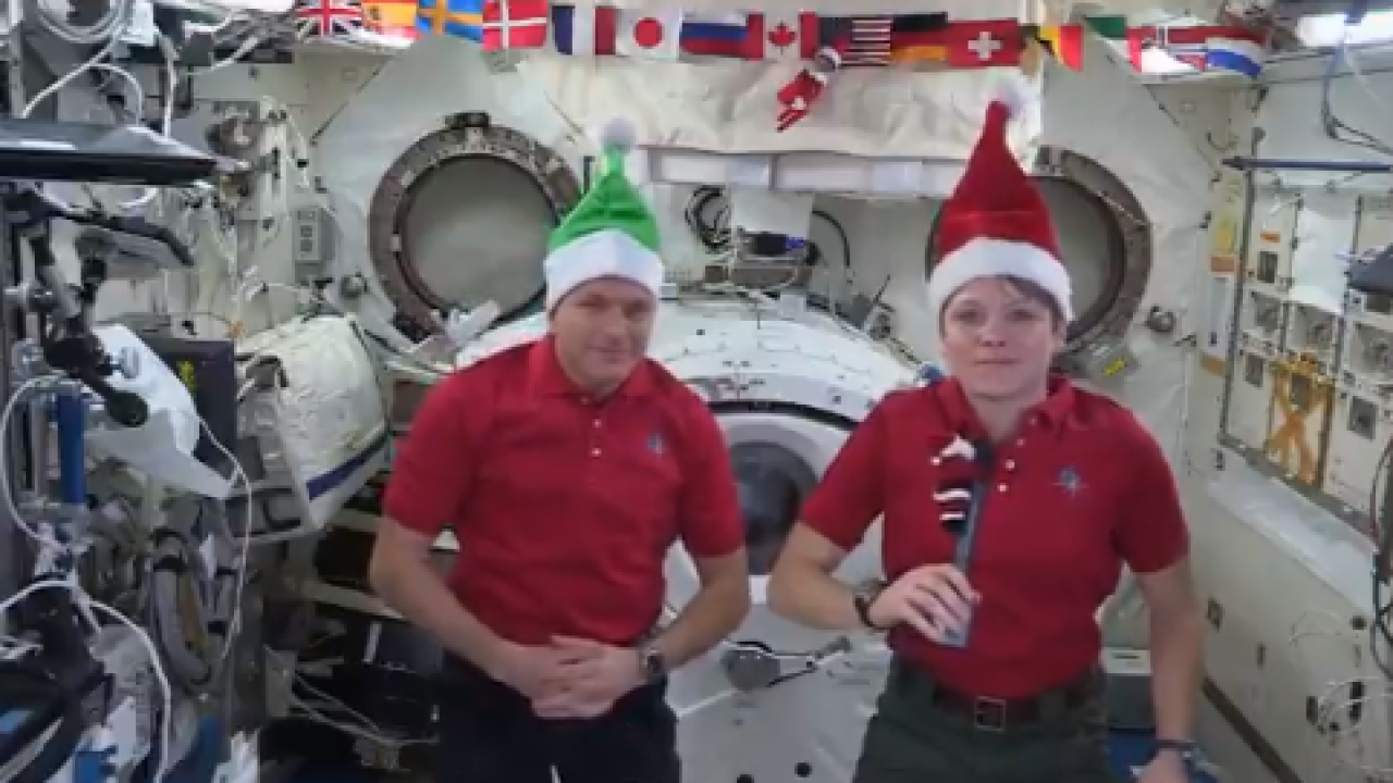 "Astronauts celebrate Christmas on International Space Station with ""Elf on the Shelf"""