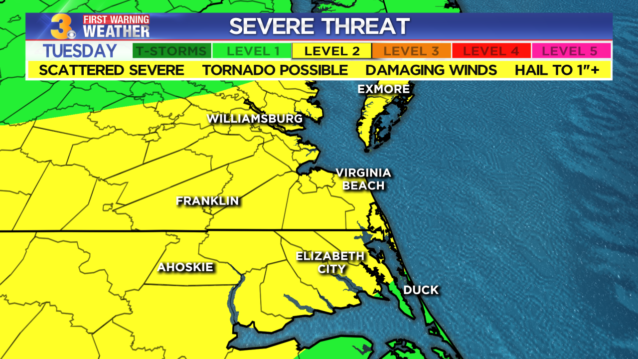 Tuesday's First Warning Forecast: Severe storms possible today