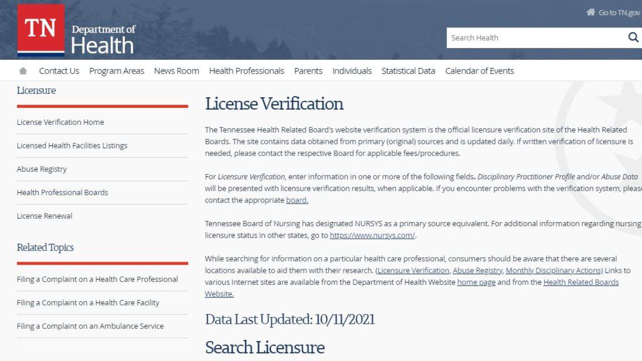 Health Department License Verification