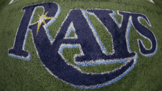 Tampa Bay Rays logo on Astroturf