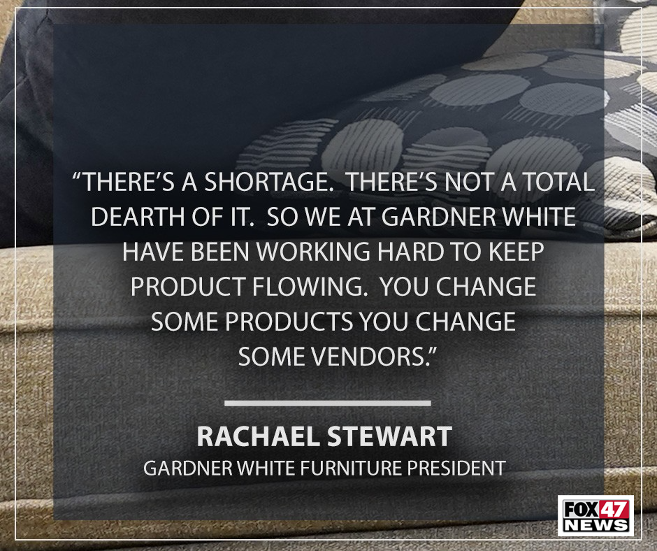 Rachael Stewart on the shortage of materials impacting their stores