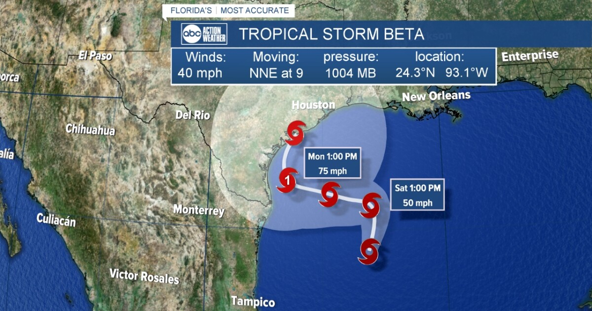 Tropical Storm Beta gains strength in Gulf of Mexico