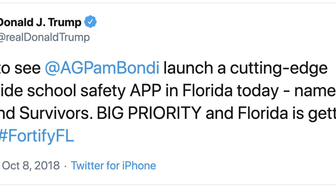 President Donald Trump tweet on Fortify FL app