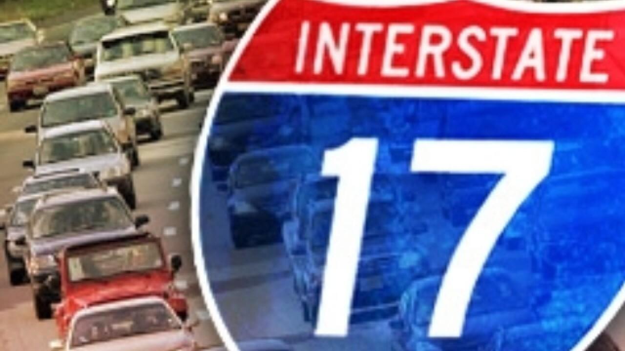 Temporary I-17 closures near Arizona's Black Canyon City for rock removal