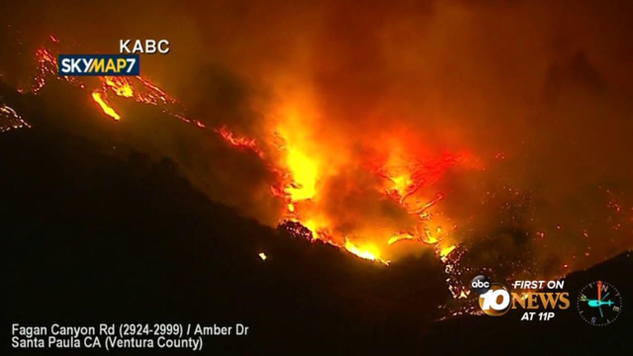 Brush fire threatening homes in Santa Paula