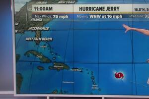 Jerry now a hurricane with winds of 75 mph