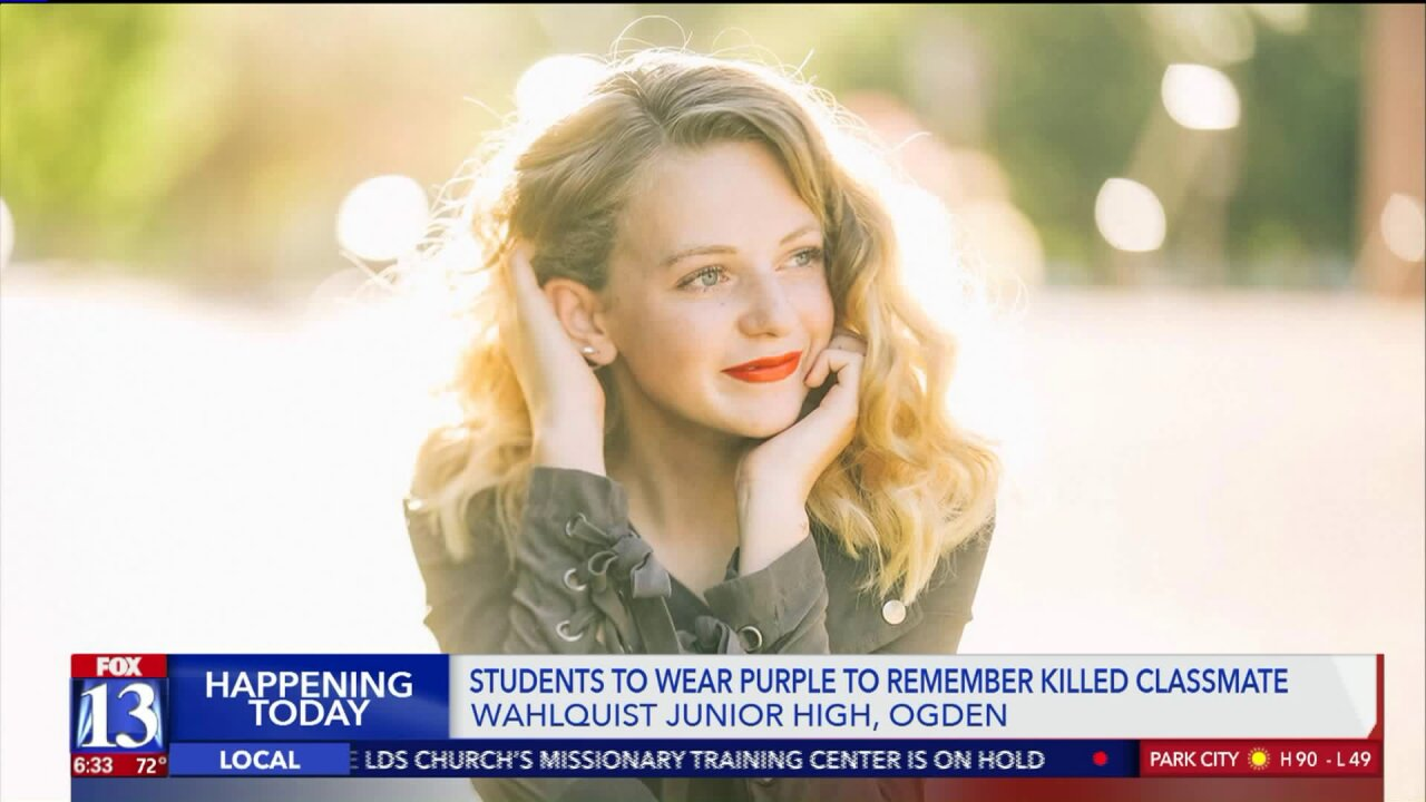 Students wear purple on first day of school to honor Utah teen killed in tragic accident