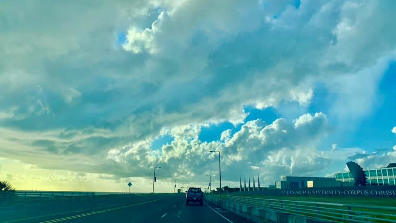 Cloudy morning over at the Island University - Photo By: FB Coastal Bend Weather Watcher Oscar Reyna