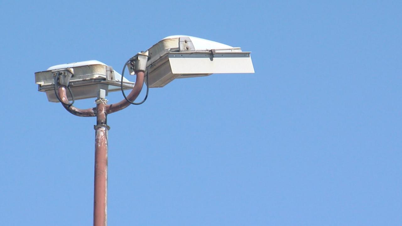 A broken streetlight in a west Tulsa neighborhood