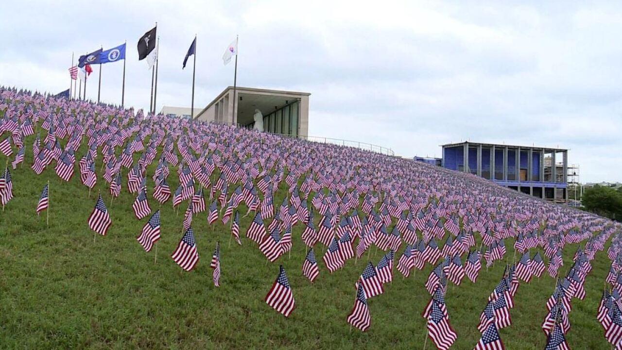 12,000 American flags line Virginia War Memorialhillside