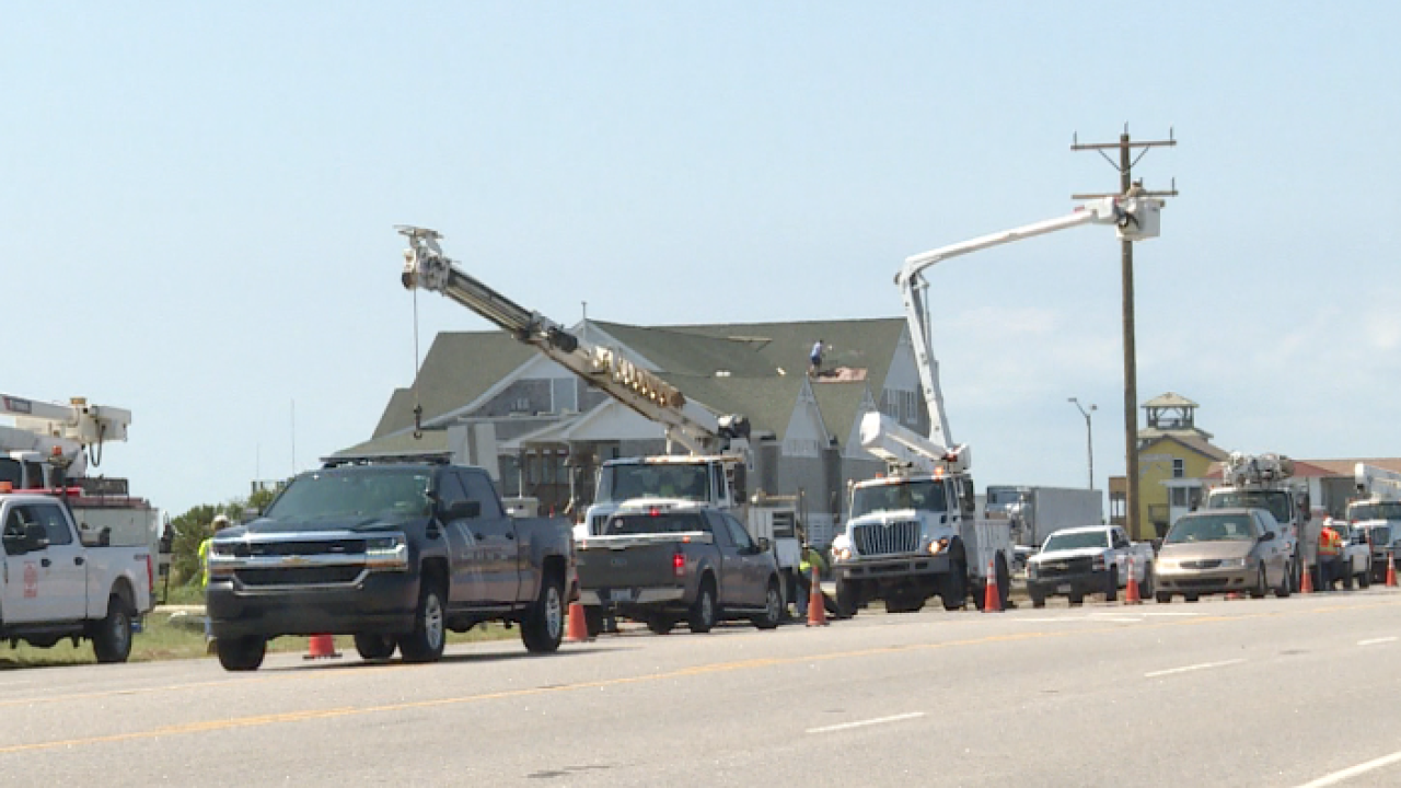 Dominion Energy crews assessing Hurricane Dorian's Outer Banks damage, restoring outages