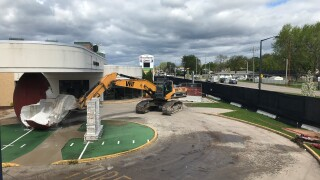Giant football at former Packers Hall of Fame site demolished