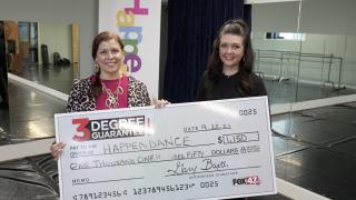 Happendance awarded three degree guarantee check