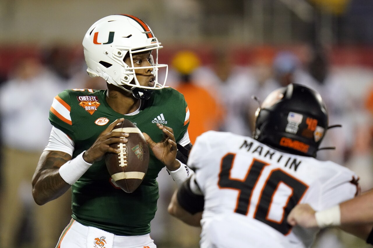 Miami Hurricanes QB N'Kosi Perry vs. Oklahoma State Cowboys in 2020 Cheez-It Bowl