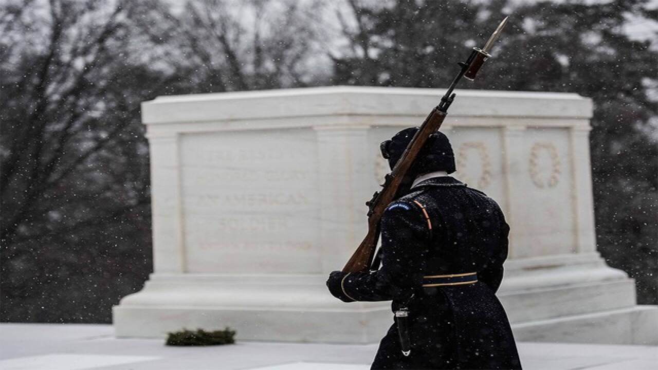 Soldiers stand guard through massive snowstorm