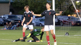 Bozeman's Joshua Angell celebrates his goal in the 36th minute