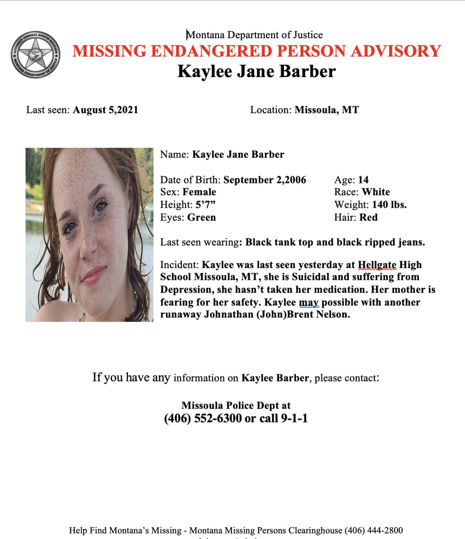 Kaylee missing poster