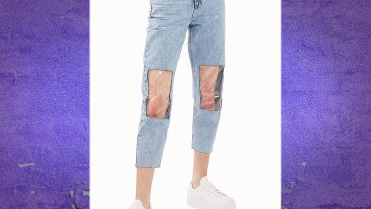 Clear knee mom jeans are athing…