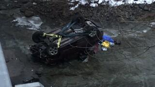 Car crashes into Cayuga Creek