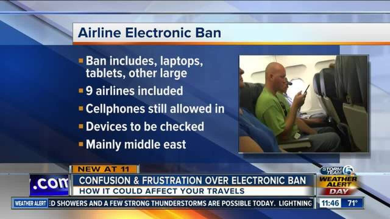How could electronics ban impact my travel?