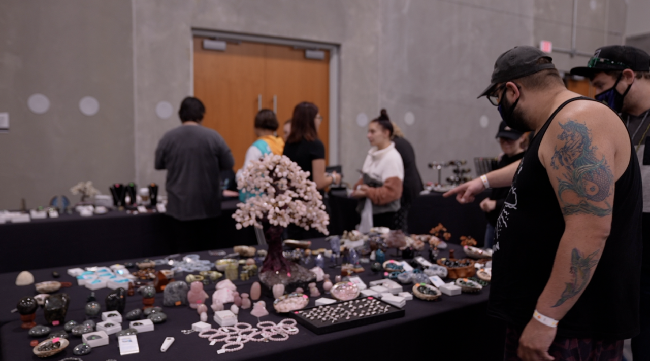 Expo guests looking at crystals