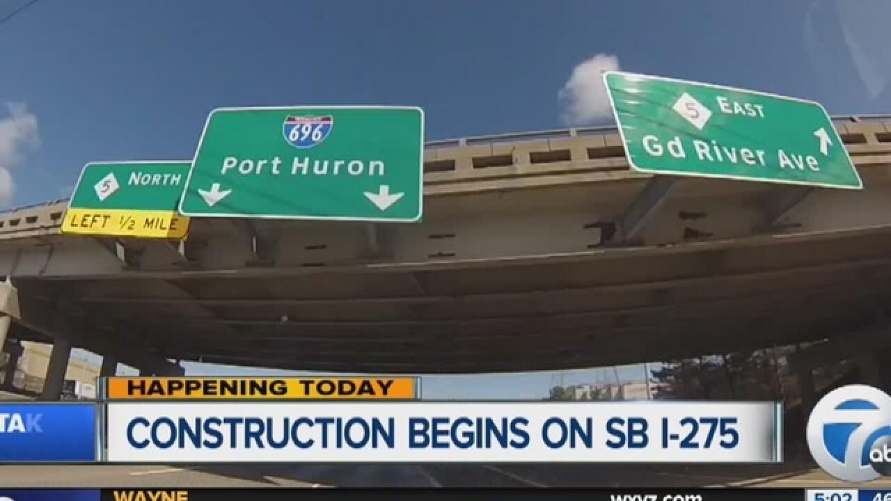 SB I-275 closes Mon. between 5 Mile, I-96/I-696