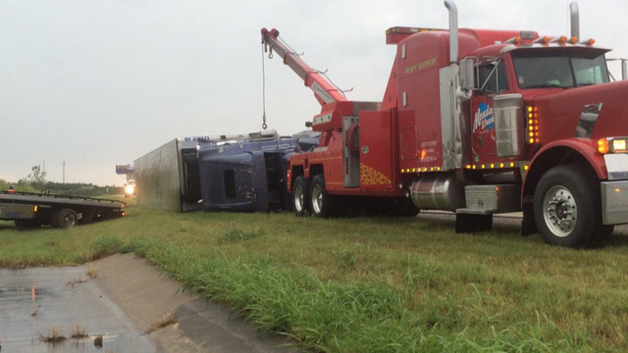 Overturned semi causes Turner TPKE backup
