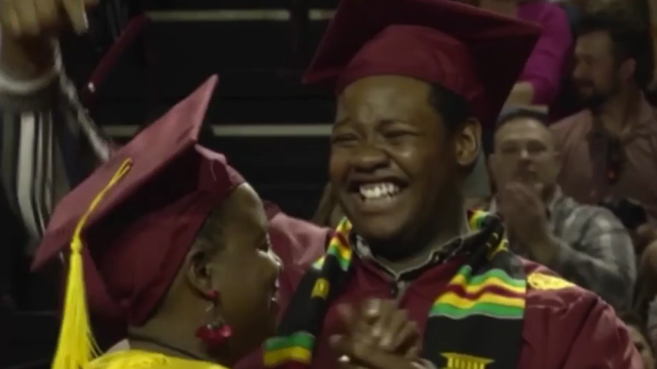 A Michigan mom skipped her college graduation to see her son graduate. A surprise awaited her