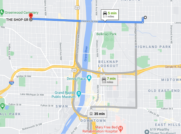 Map of The Shop GR, 1002 Leonard St NW, Grand Rapids