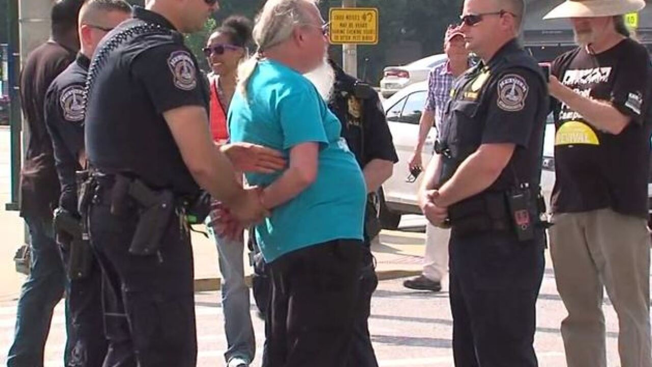 14 protesters arrested in downtown Indianapolis