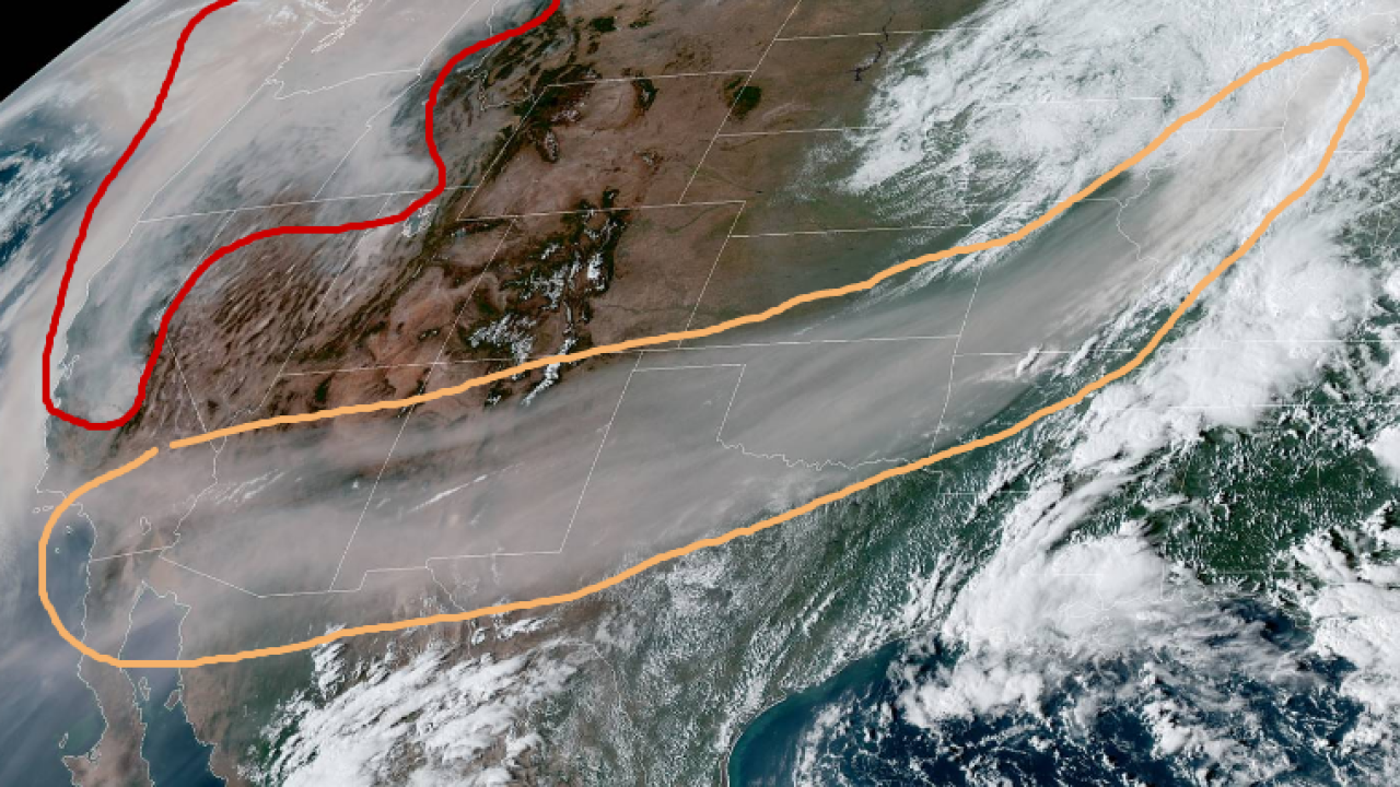 Satellite image shows smoke from California wildfires stretching to Michigan