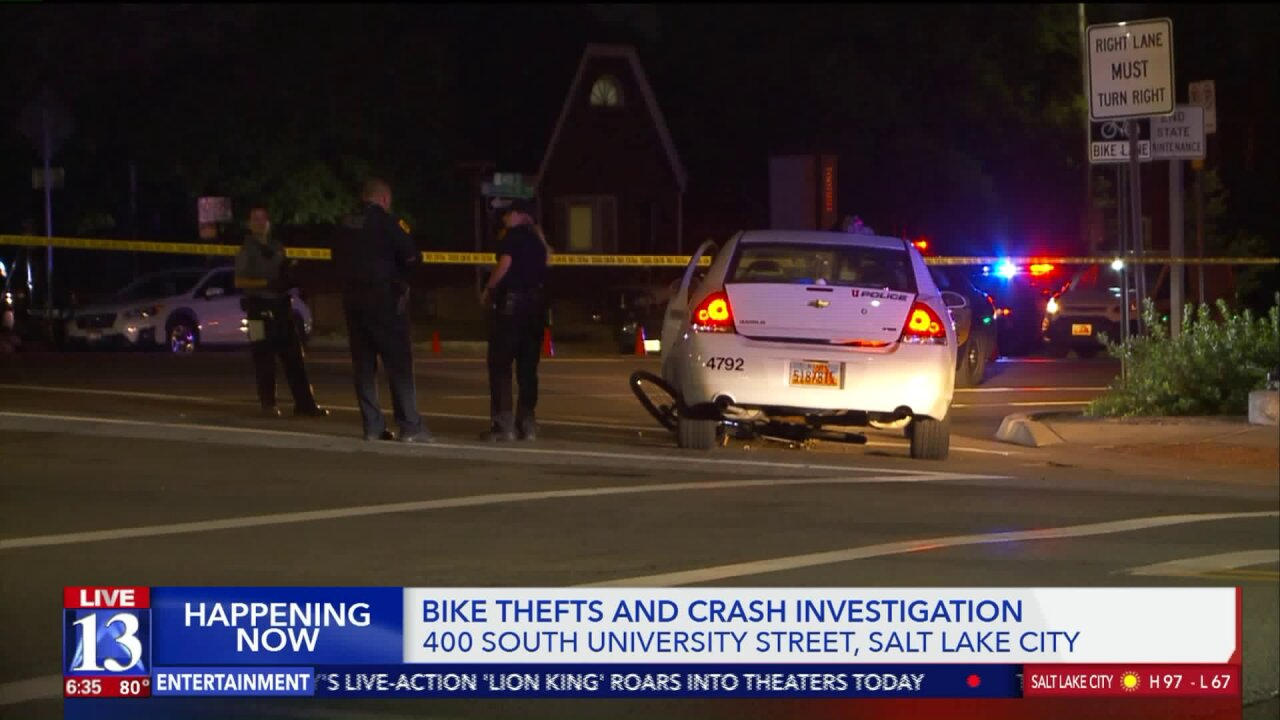 Woman critically injured after crashing stolen bike into campus police car at University of Utah