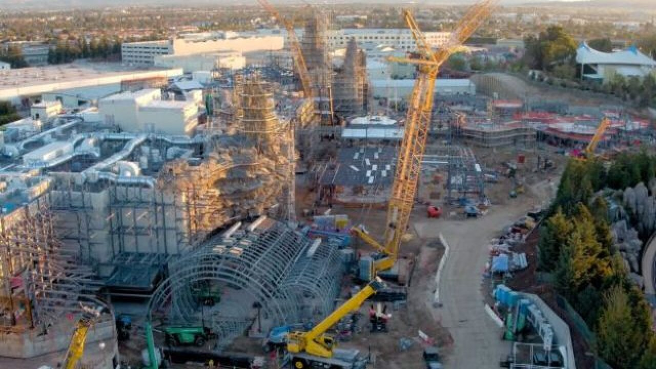Drone footage gives galactic flyover of Disneyland's new 'Star Wars' expansion
