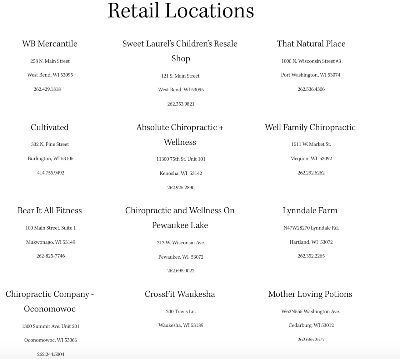 Some of the places you can find Cassie Johnsons elderberry products.