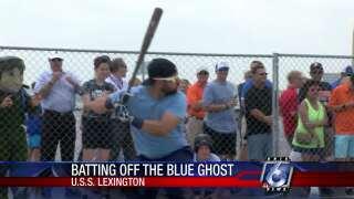 Hooks players host batting practice aboard USS Lexington