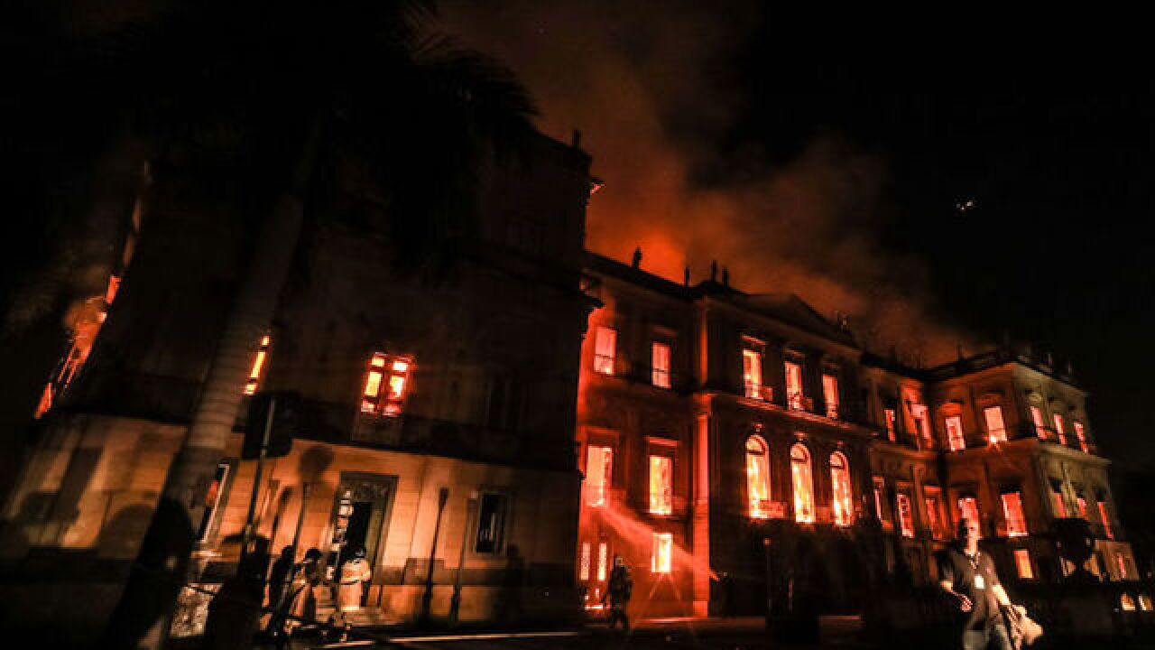 Police, protesters clash after Brazil's National Museum goes up in flames