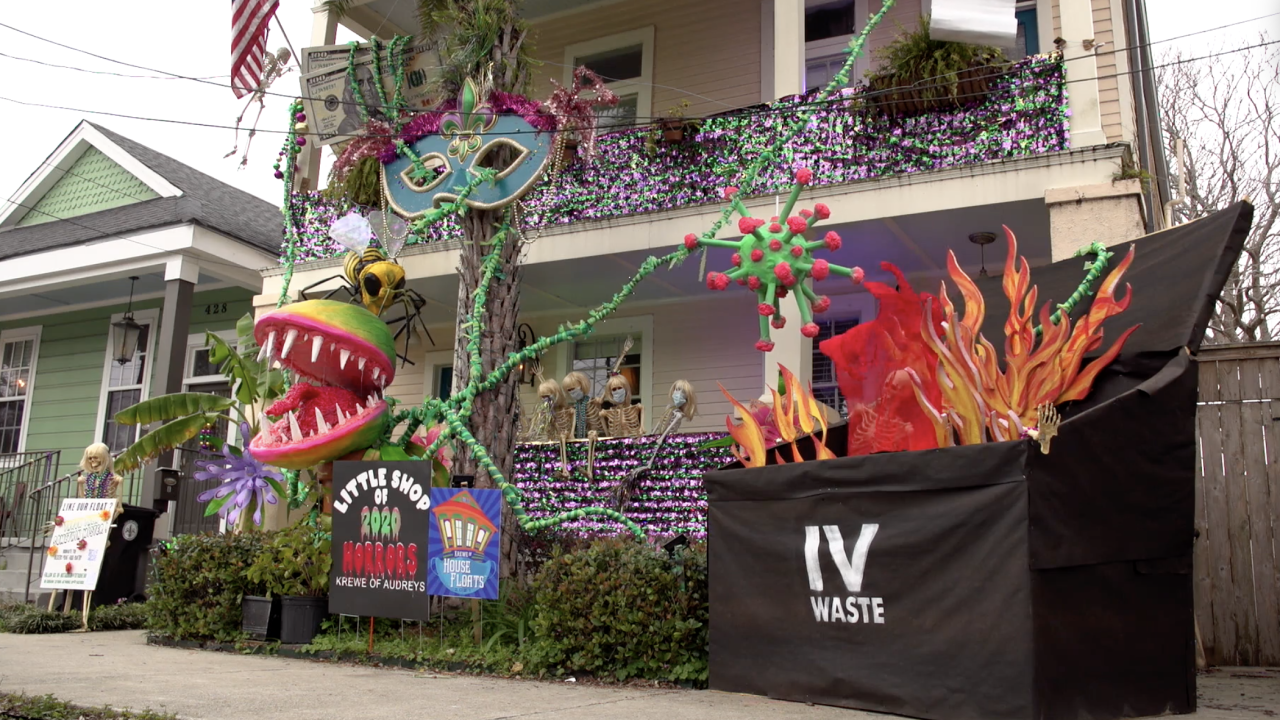 "The House Float known as the ""Little Shop of 2020 Horrors"" features the coronavirus, a murder hornet and a roll of toilet paper. It's part of the new 'Krewe of House Floats' in New Orleans, which formed this year after Mardi Gras parades were canceled because of COVID-19 restrictions."