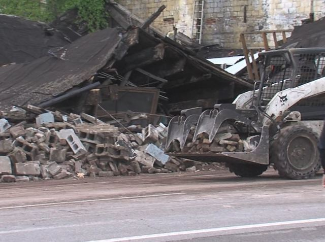 PHOTOS: Buliding next to old Ritz Theatre collapses on Indianapolis' north side