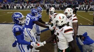 Duke Blue Devils and Miami Hurricanes shake hands before 2019 game
